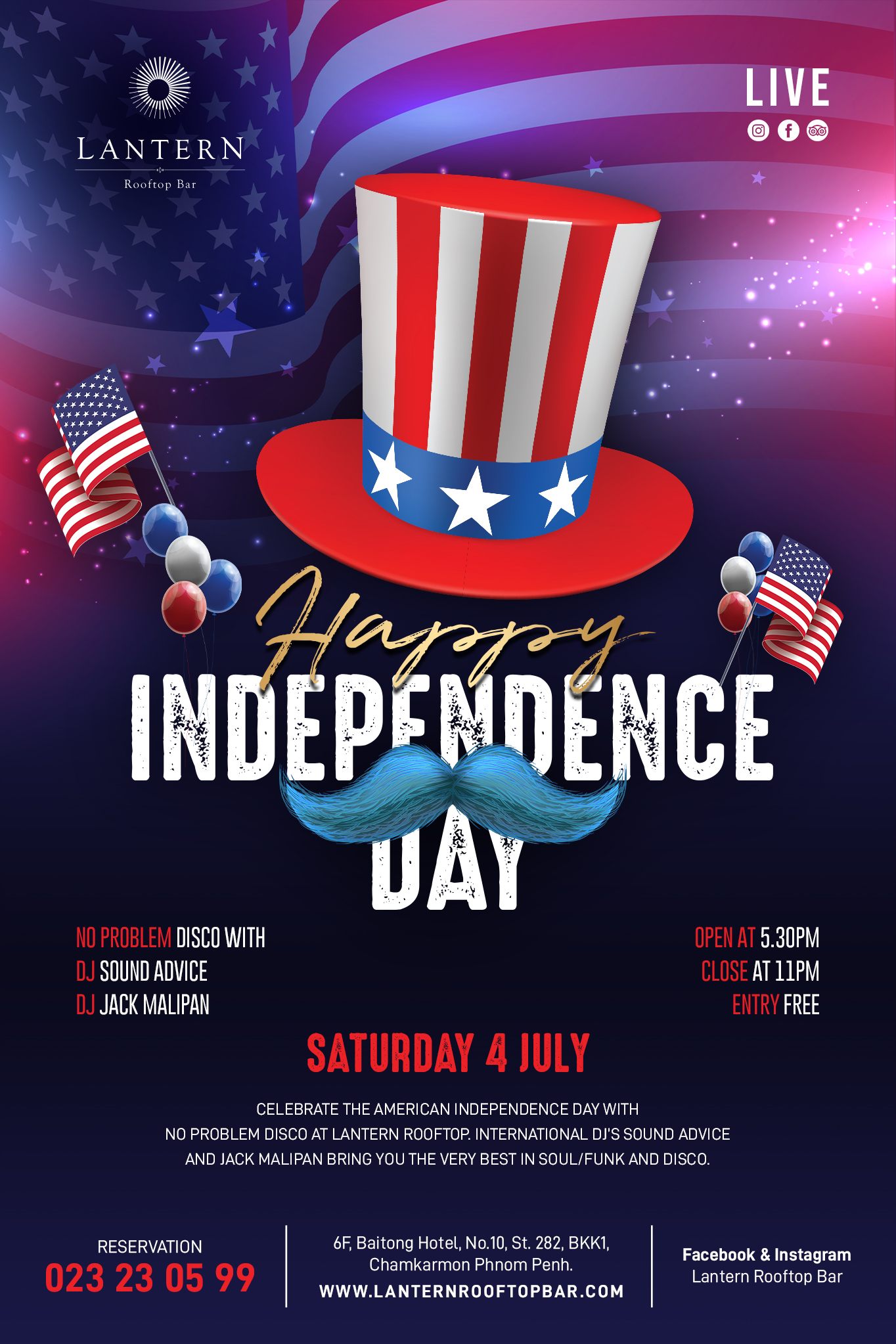 American Independence Day @ Lantern Rooftop Bar - 4 July 2020