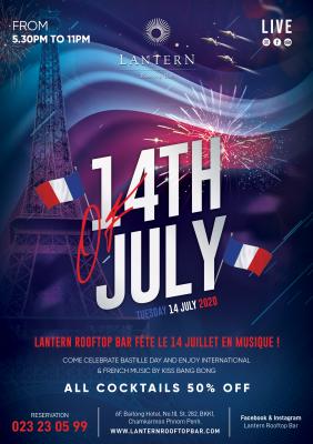 Lantern Rooftop Bar fête le 14 juillet en musique !