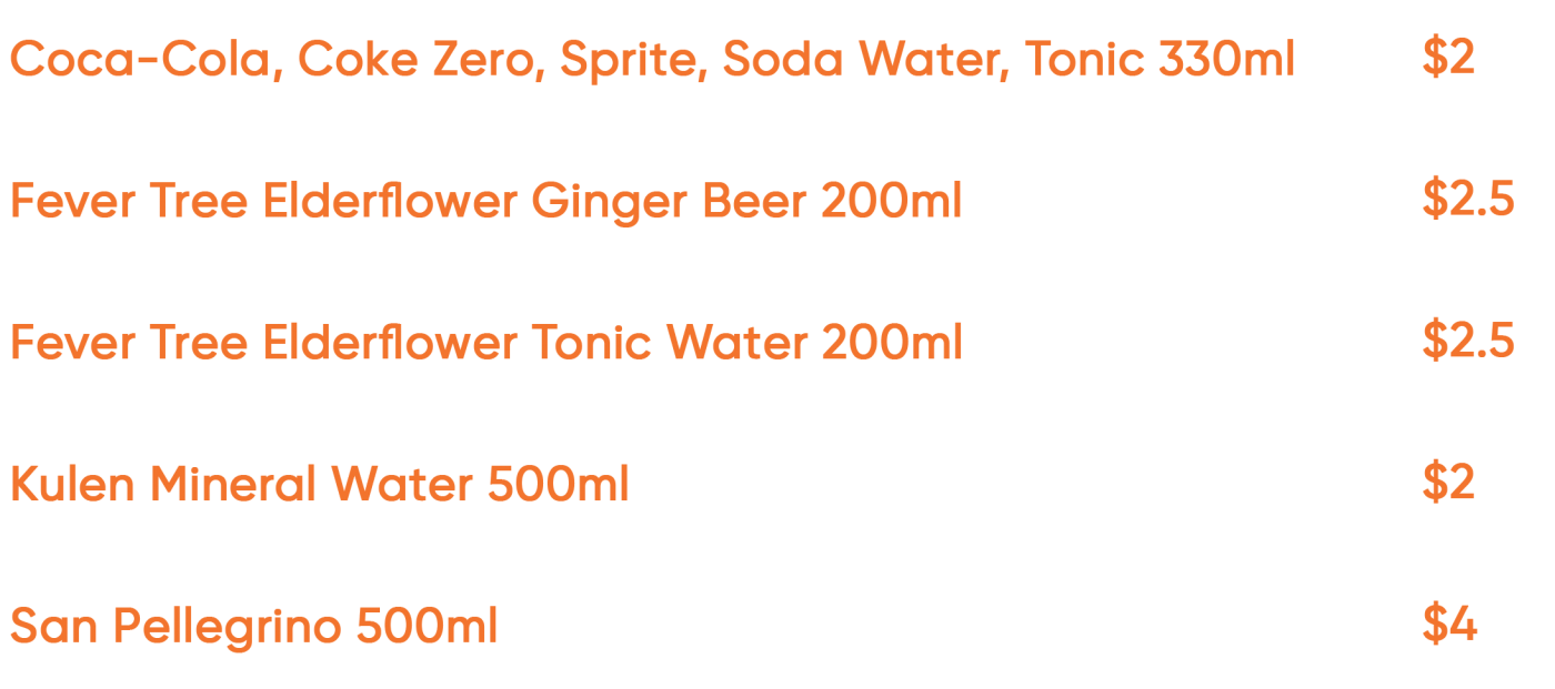 Lantern Rooftop Bar - Soft drinks